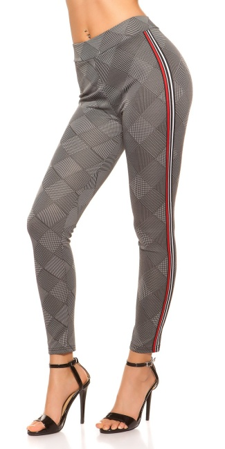 Sexy leggings checkered with contrast stripes Whiteredblack