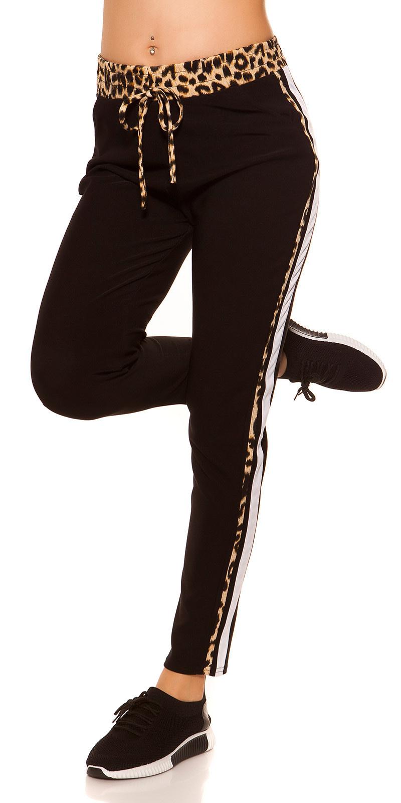 Trendy joggingbroek met luipaard contrast strepen zwart