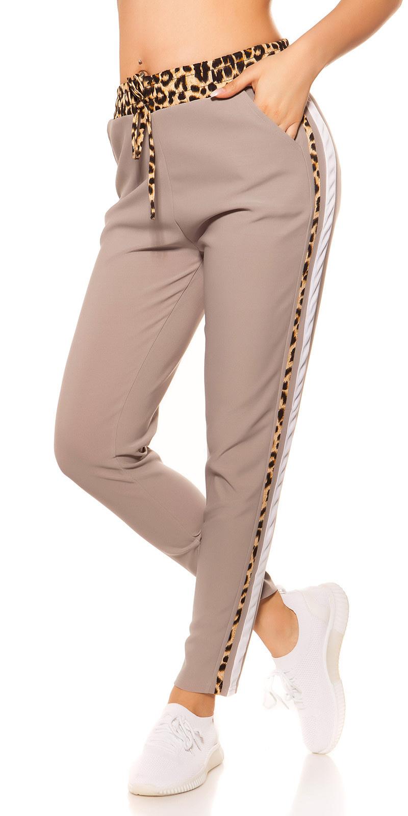 Trendy joggingbroek met luipaard contrast strepen grijs