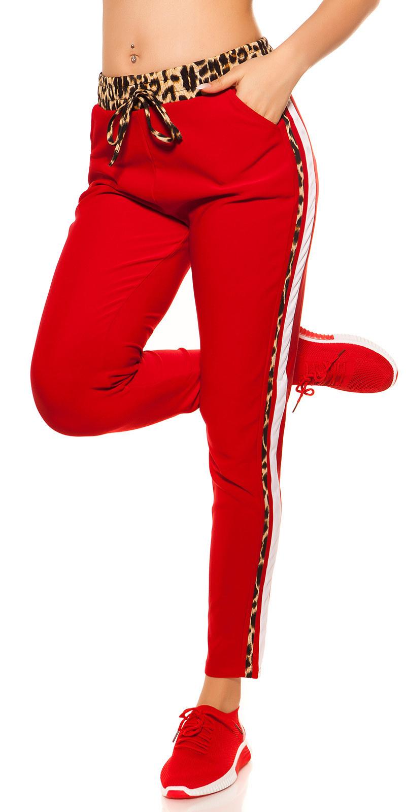 Trendy joggingbroek met luipaard contrast strepen rood