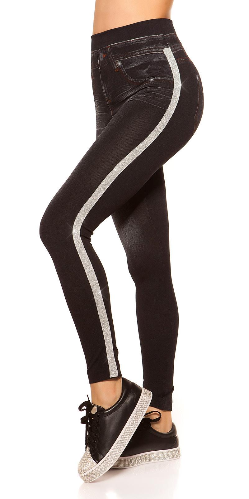 Trendy Jeanslook-Leggings with contrast stripes Blacksilver