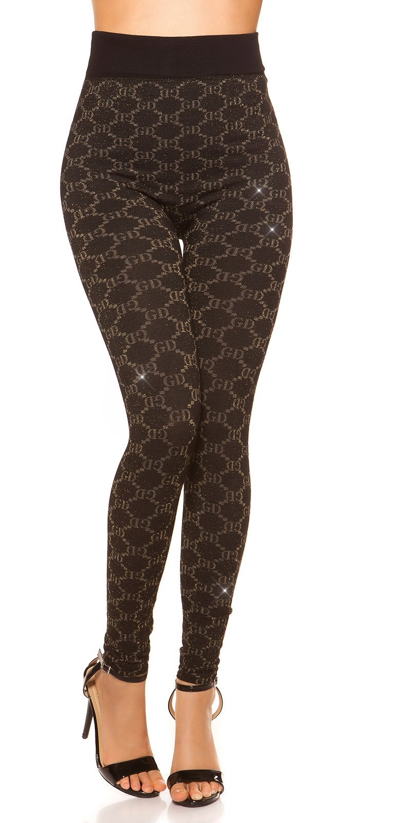 Sexy leggings with glitter threads and patterns Gold