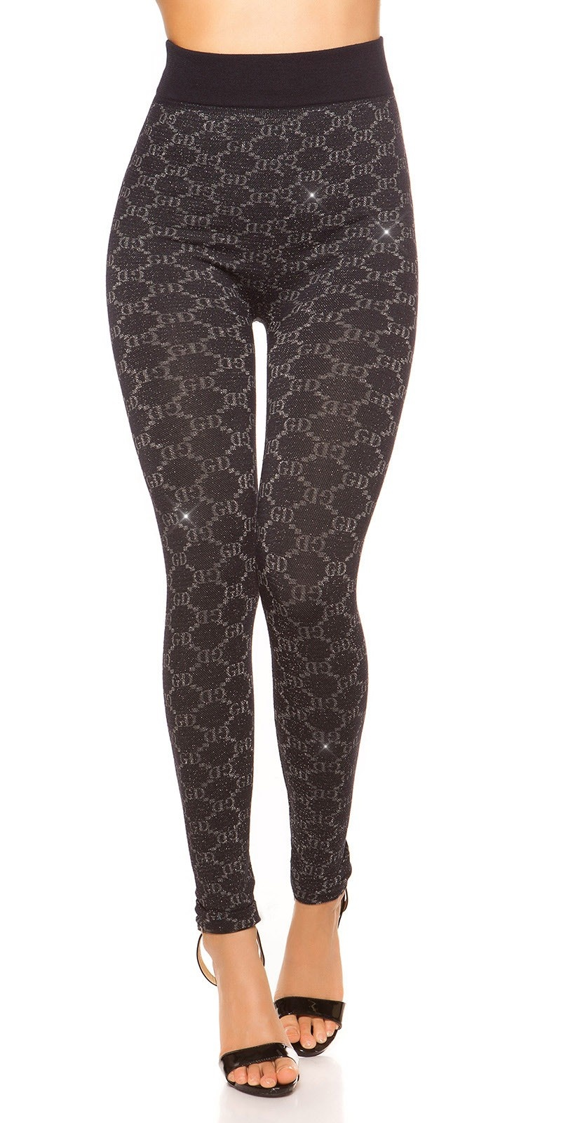 Sexy leggings with glitter threads and patterns Navy
