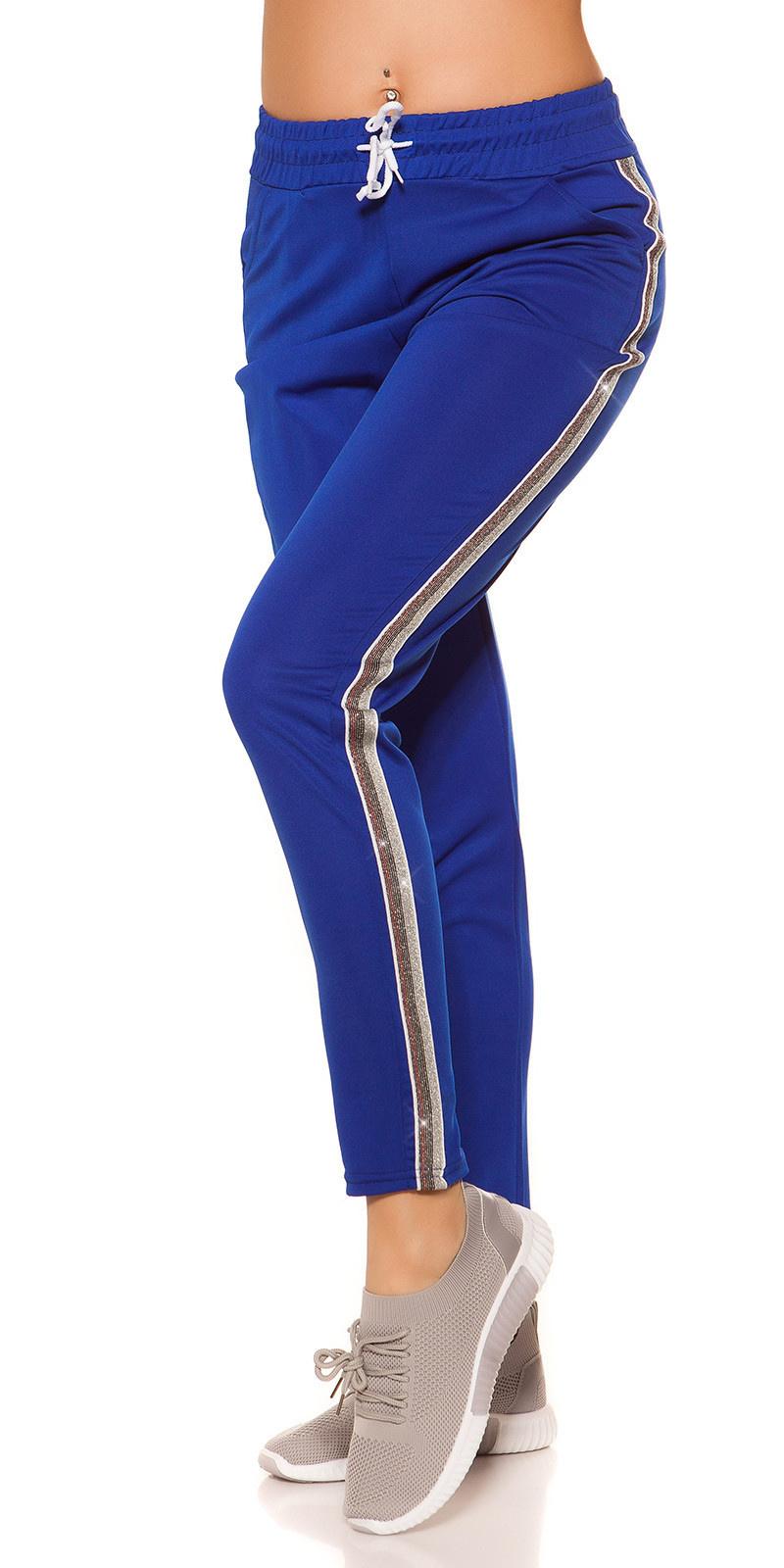 Trendy joggingbroek met contrast strepen blauw