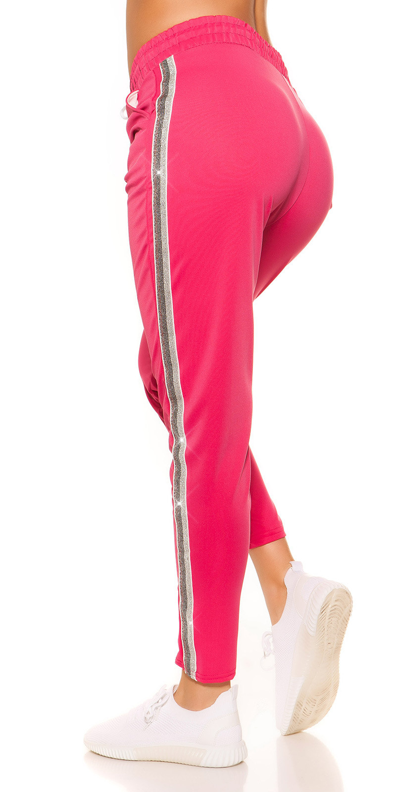 Trendy joggers with contrast stripes Fuchsia