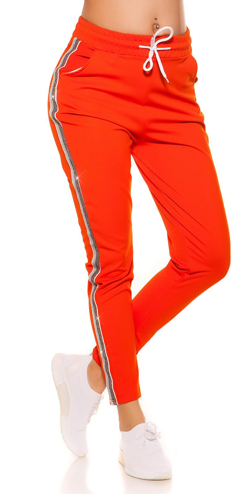 Trendy joggingbroek met contrast strepen oranje