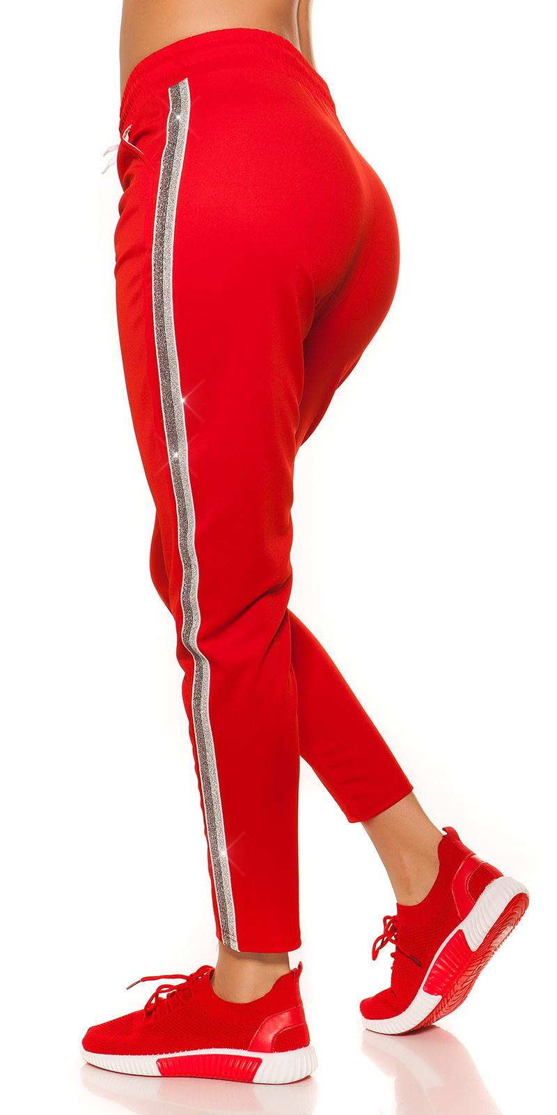 Trendy joggingbroek met contrast strepen rood