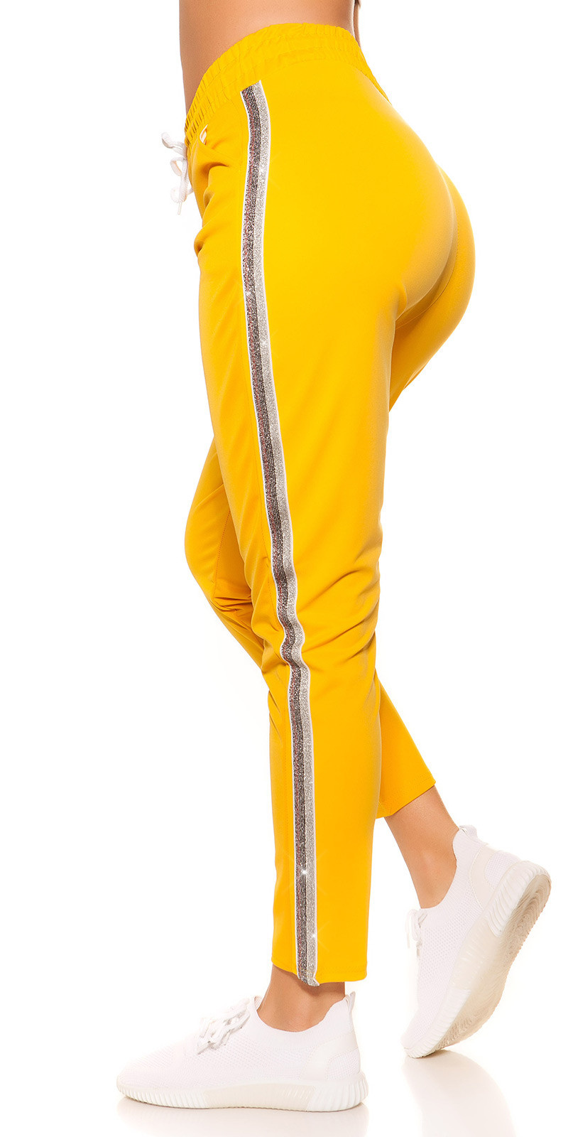 Trendy joggers with contrast stripes Yellow