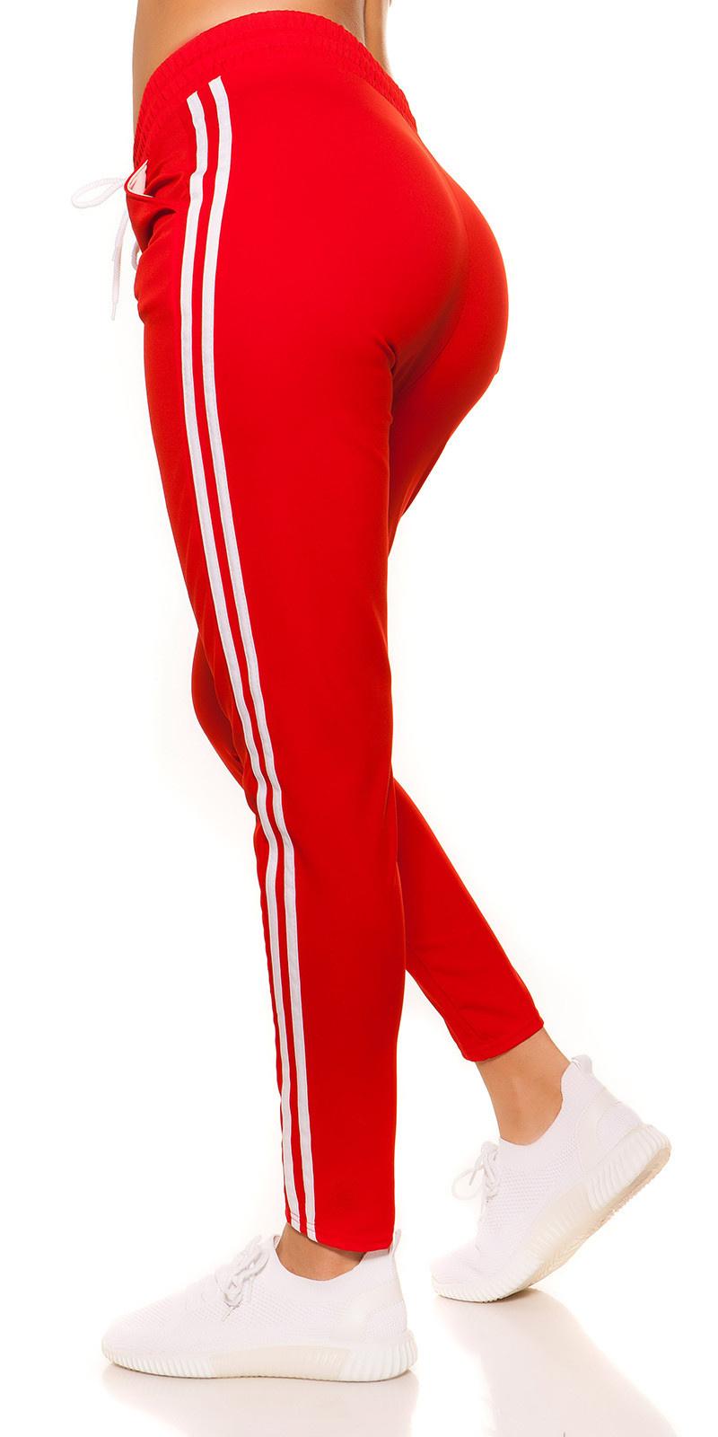 Trendy joggingbroek met strepen jaren 90 retro look rood