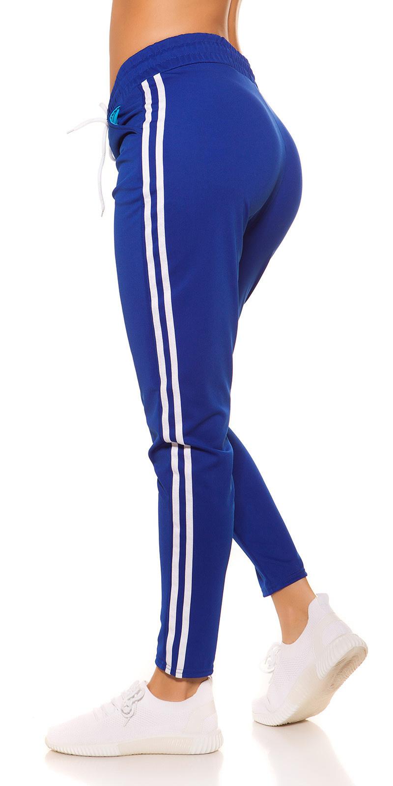 Trendy joggingbroek met strepen jaren 90 retro look koningsblauw