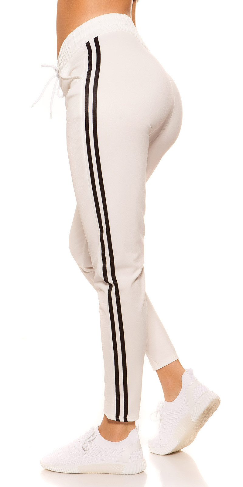 Trendy joggingbroek met strepen jaren 90 retro look wit