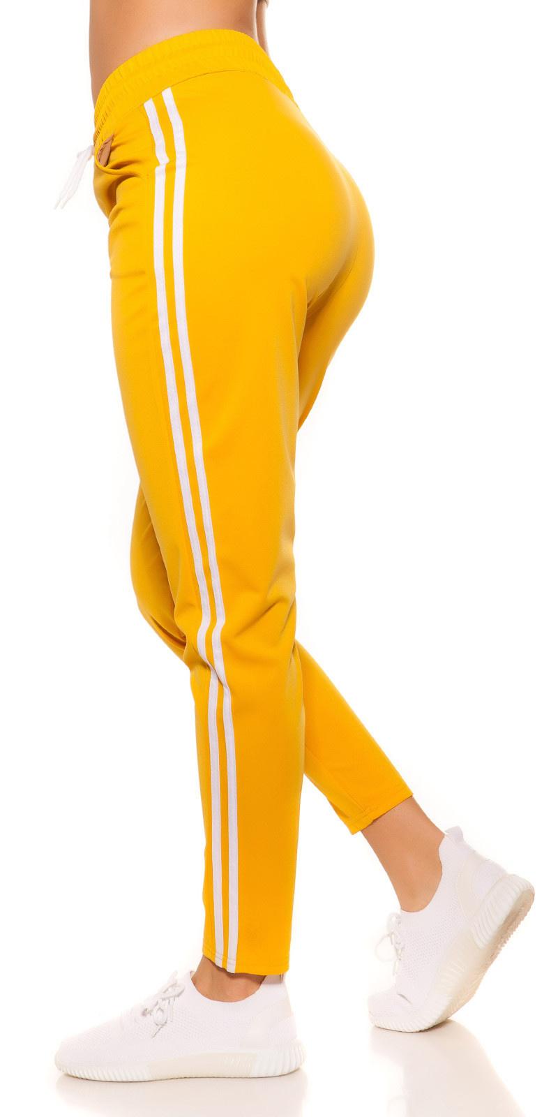 Trendy joggingbroek met strepen jaren 90 retro look geel