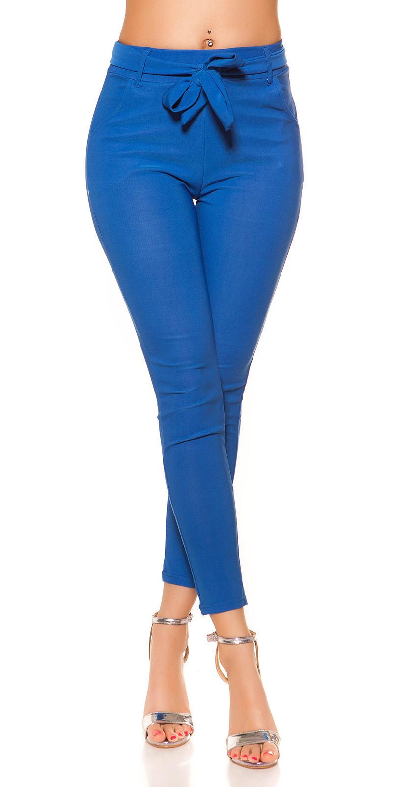 Trendy treggings met riem blauw