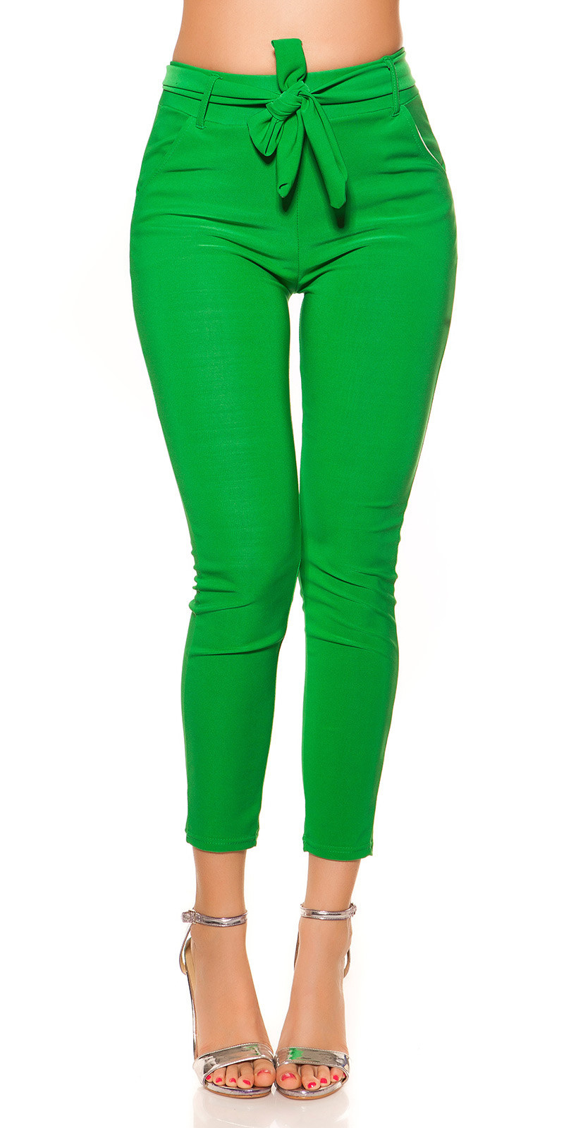 Trendy Treggings with Belt Green