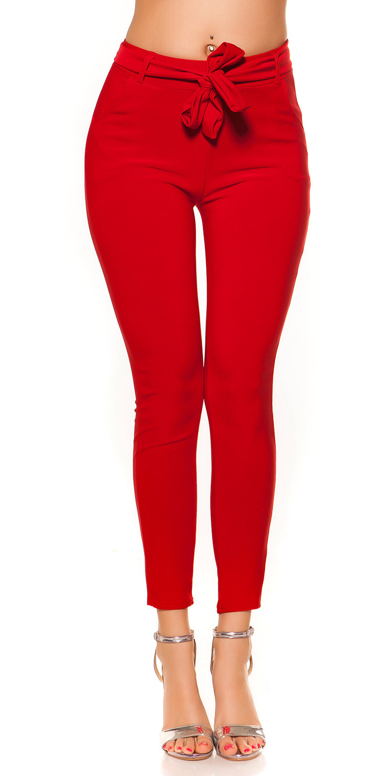 Trendy Treggings with Belt Red