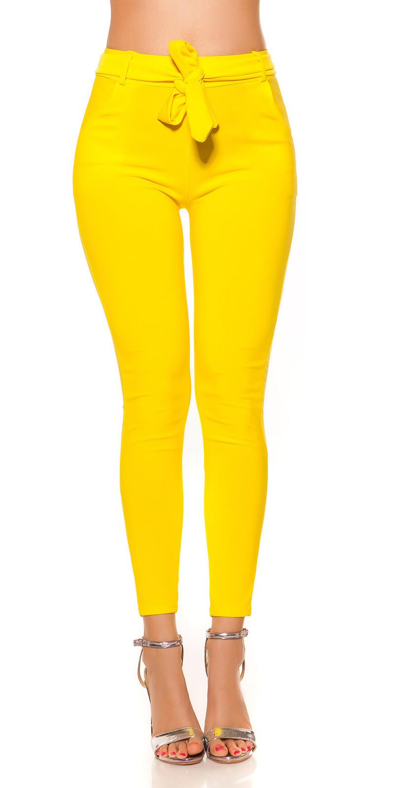 Trendy treggings met riem geel