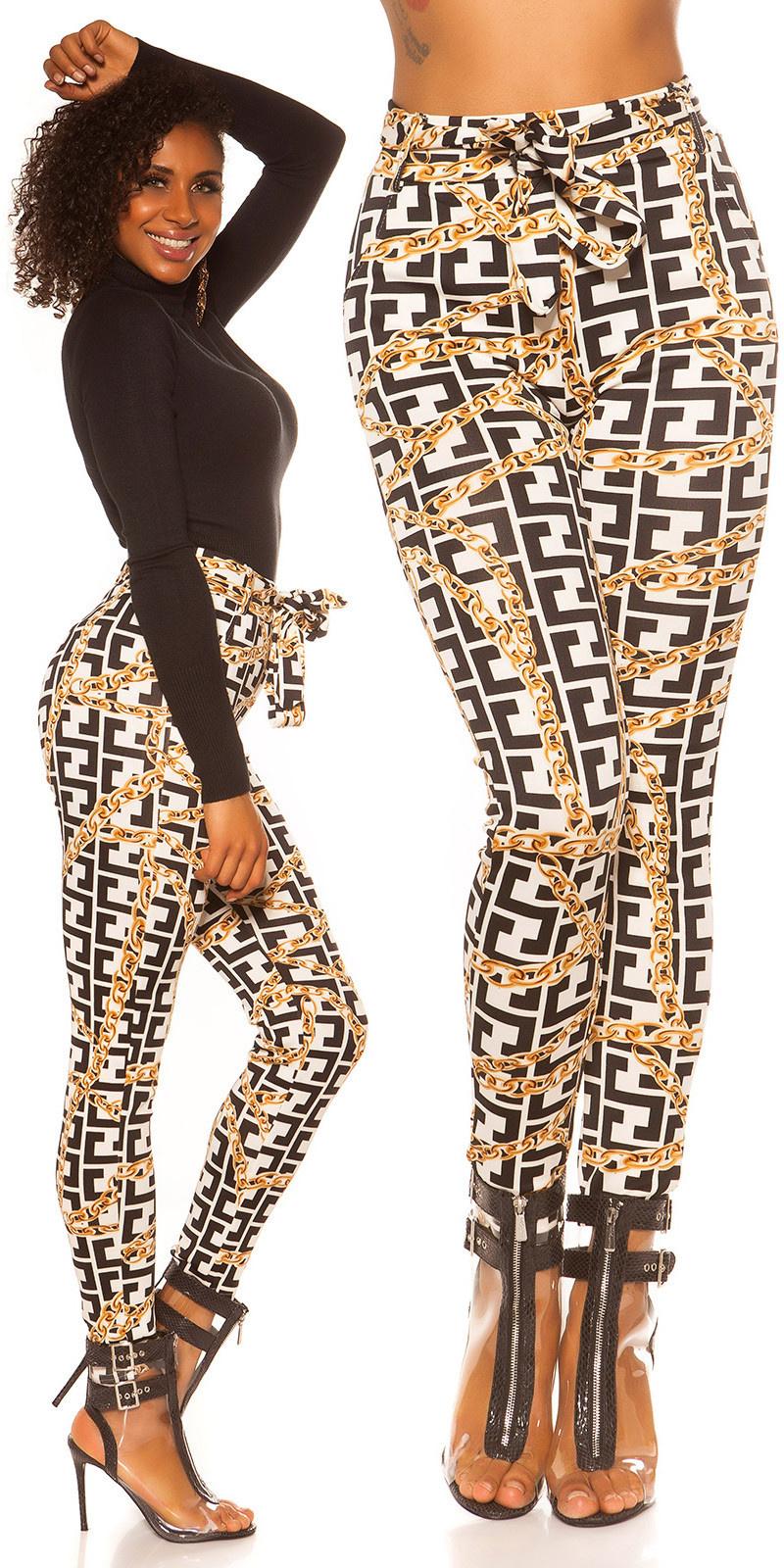 Trendy hoge taille leggins met print wit