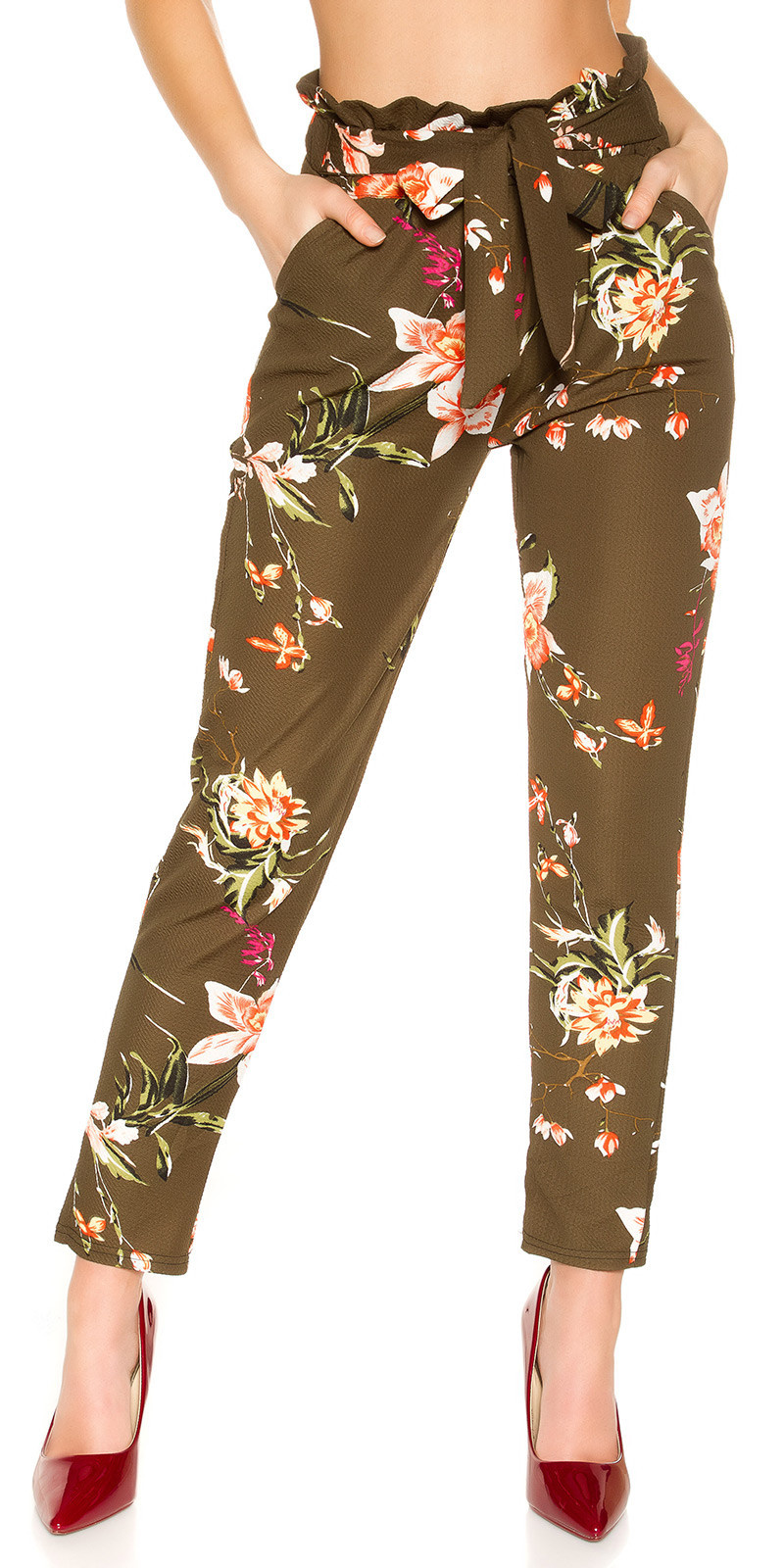 Trendy treggings in bloemen-print met lus khaki