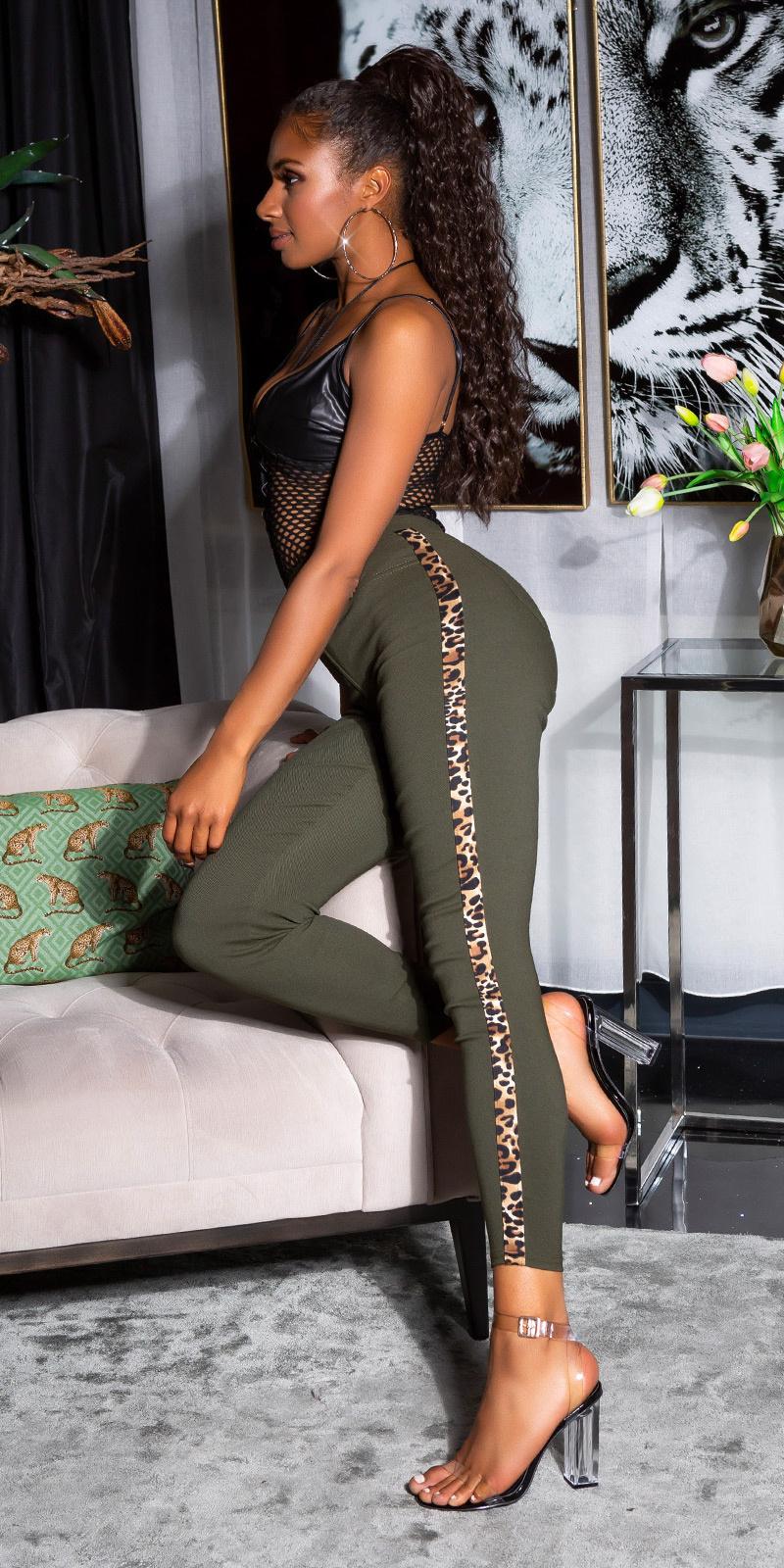 Sexy hoge taille broek met luipaard contrast streep khaki