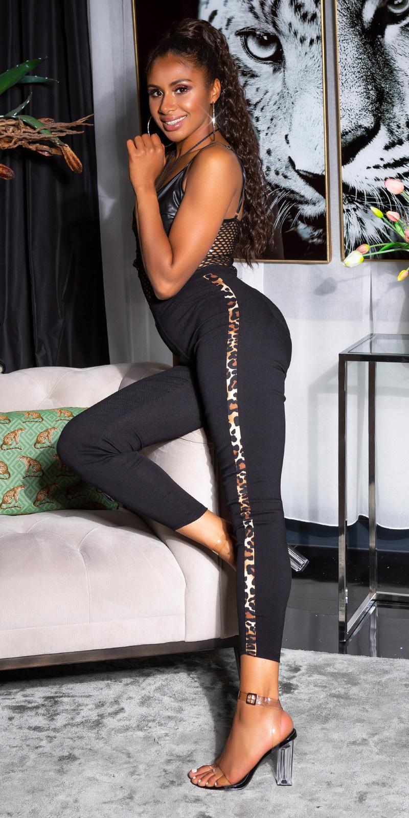 Sexy hoge taille broek met luipaard contrast streep zwart