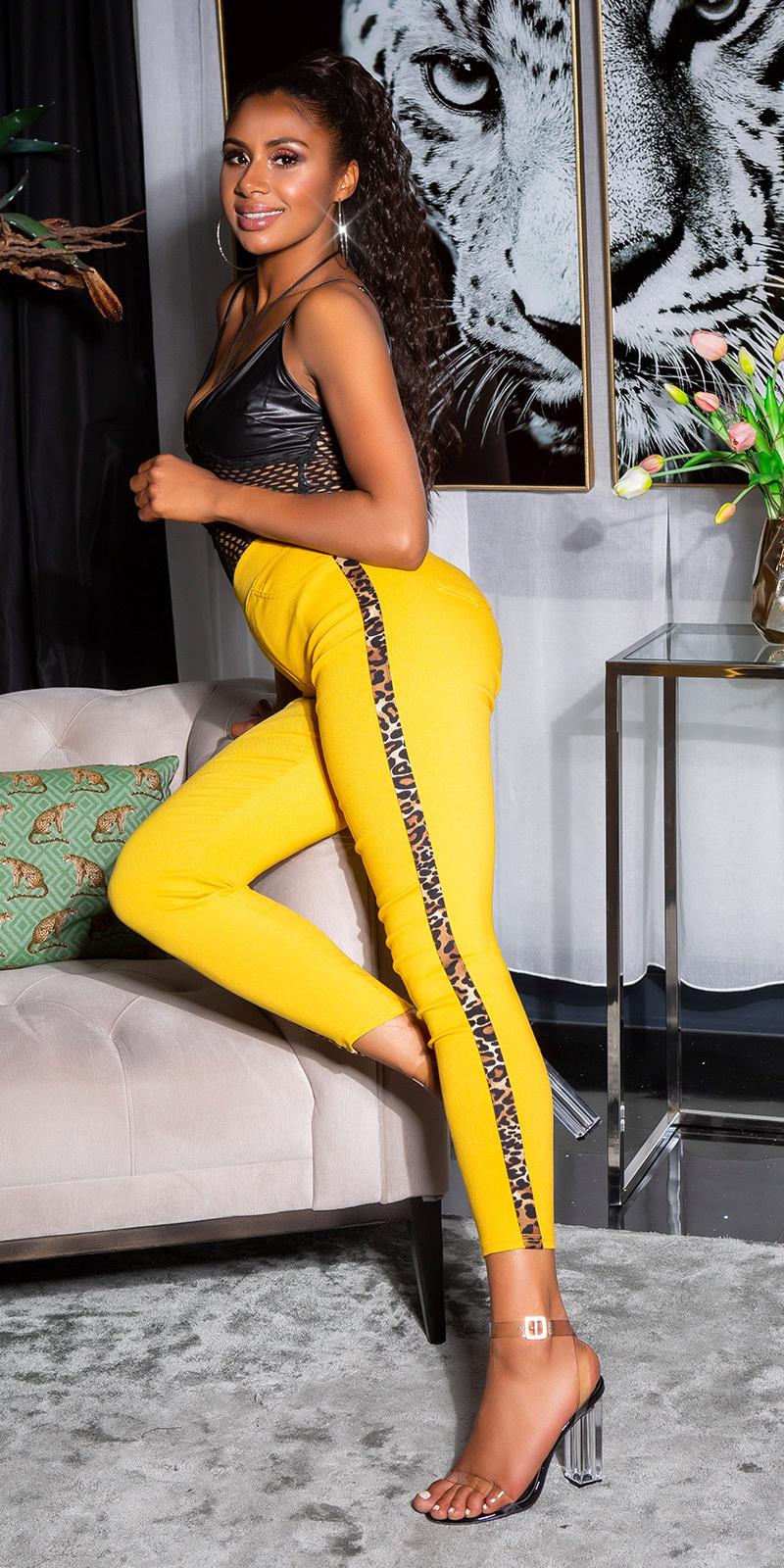 Sexy hoge taille broek met luipaard contrast streep geel