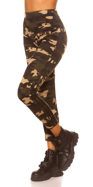 Trendy Camouflage Leggings with contrast stripe Black