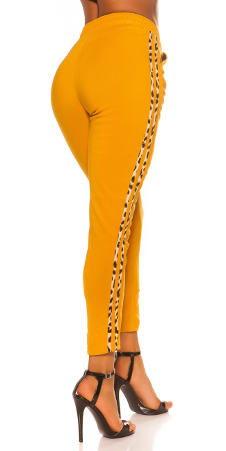 Trendy Jogging pants with leo contrast stripe Mustard