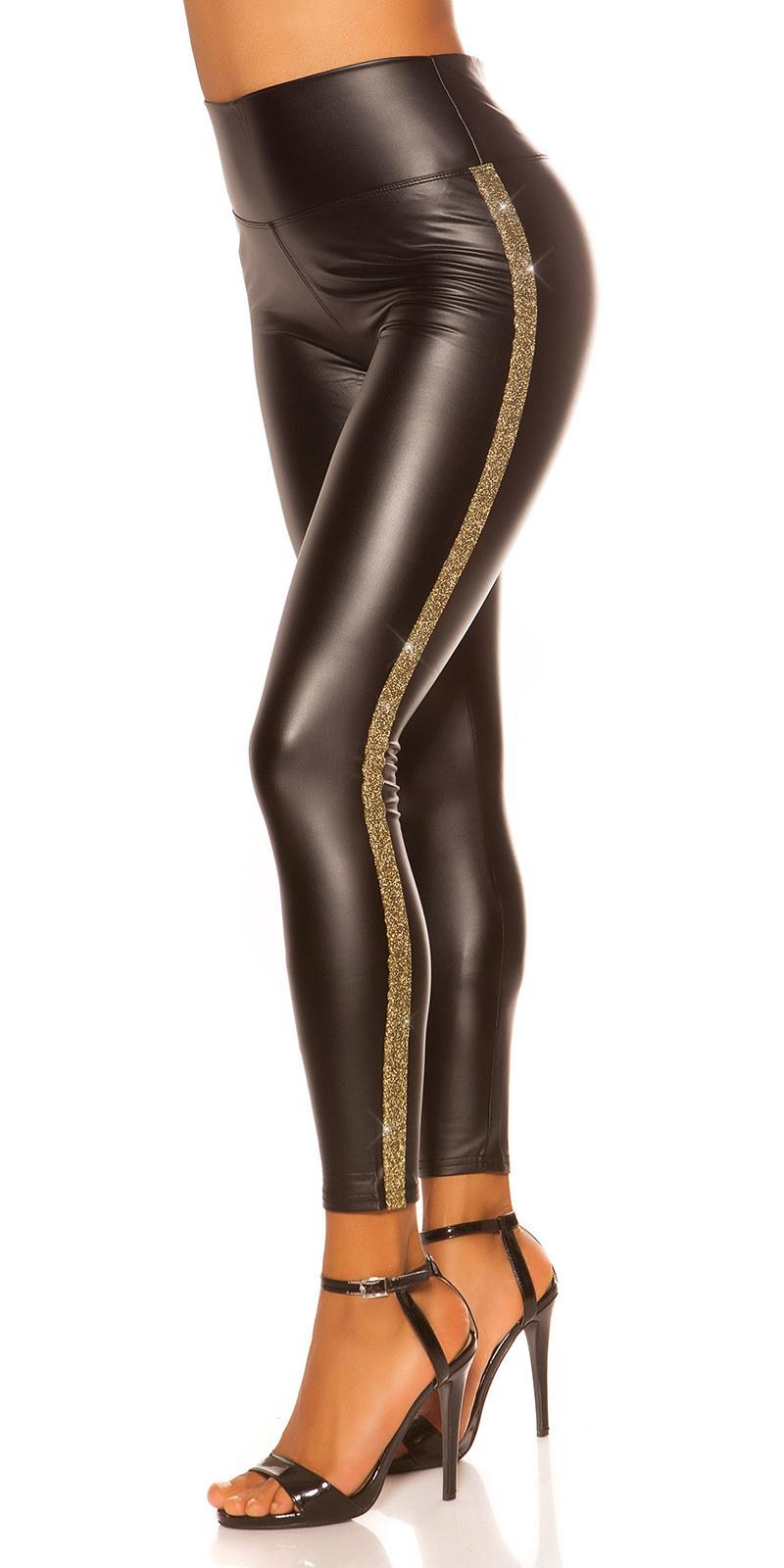 Sexy lederlook leggings met strass steentjes goud