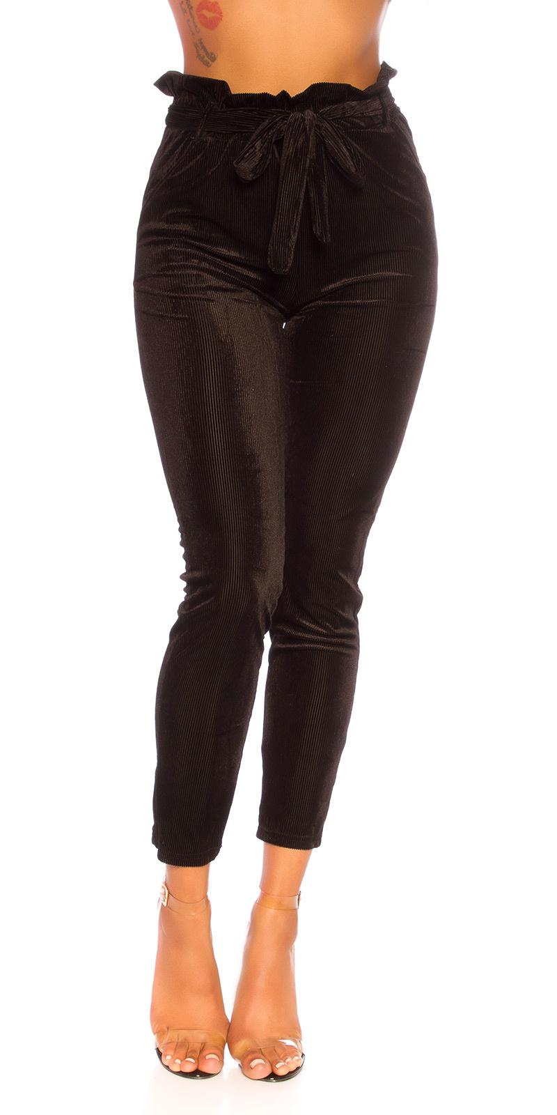 Sexy rib-paperbag broek zwart