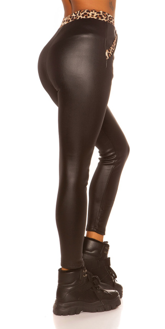 Sexy Leatherlook Thermo Leggins with leo Black