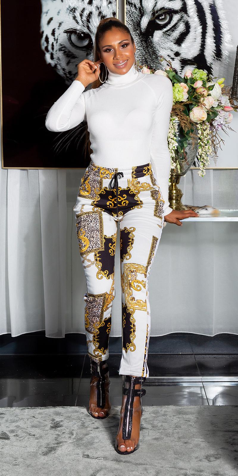 Sexy thermo broek met luipaard- en chain print wit