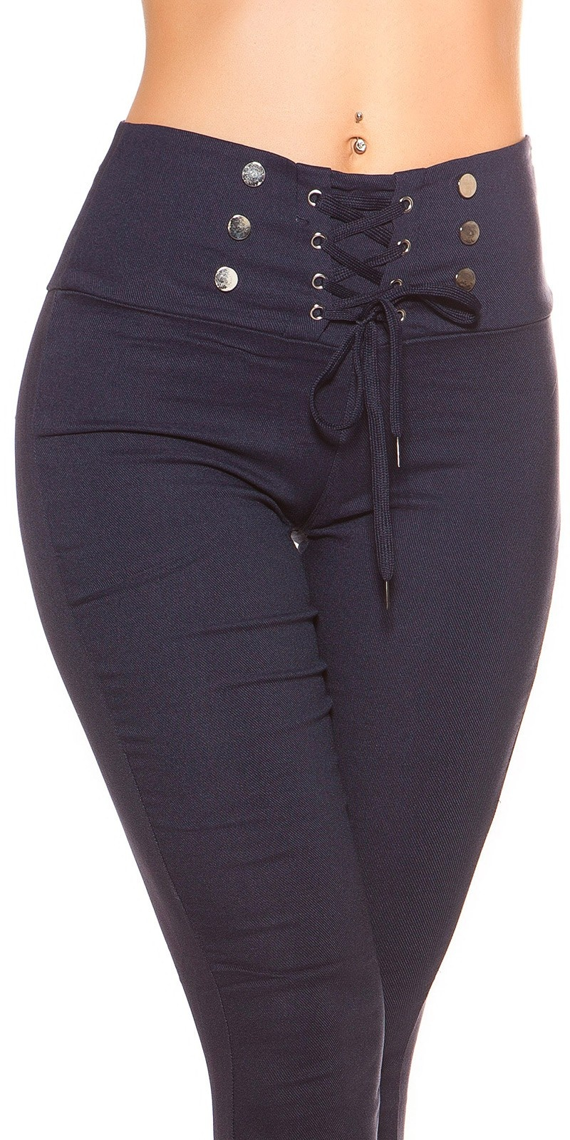 Sexy high waist thermo treggings with lacing Navy