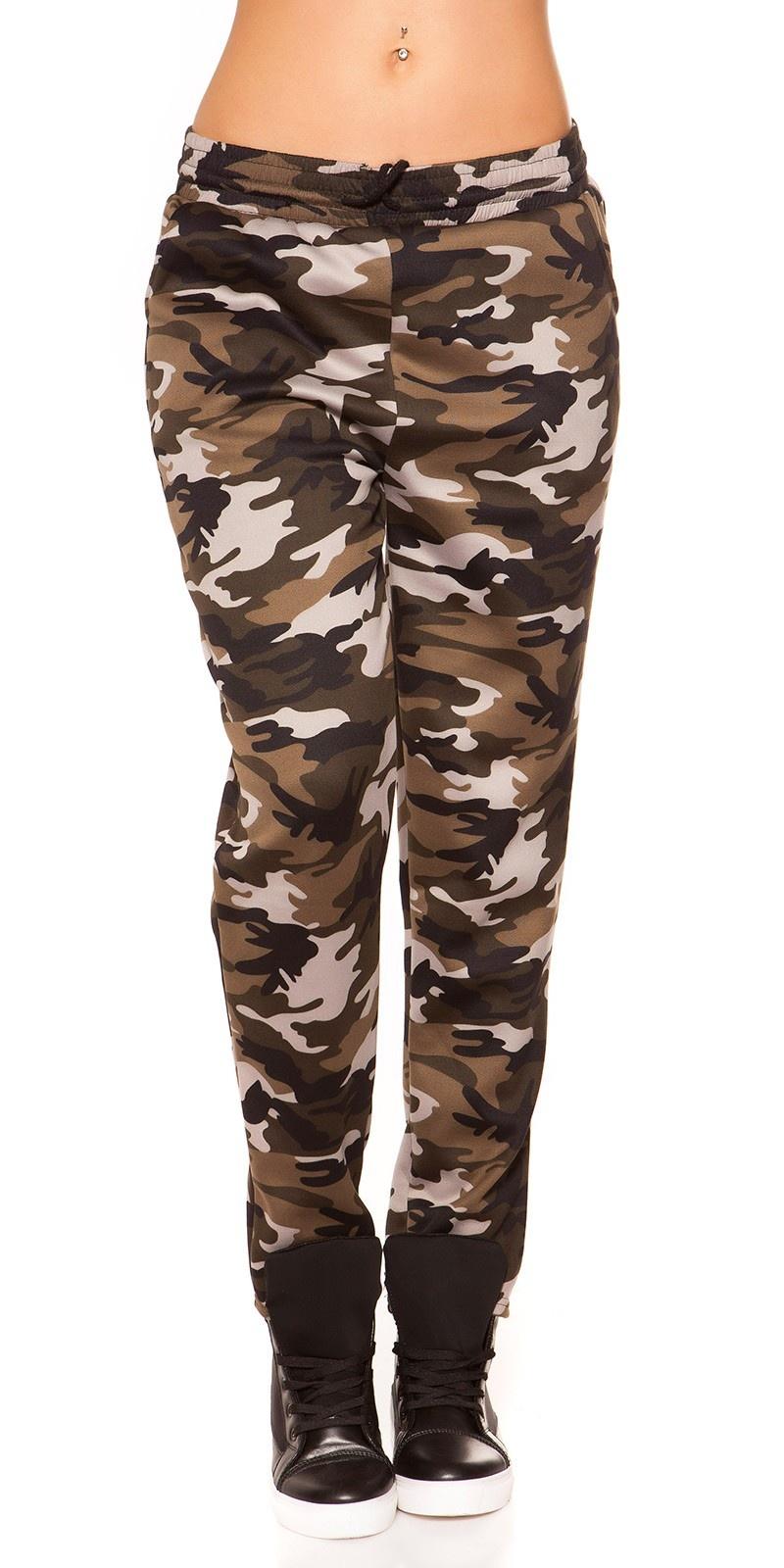 Trendy thermische joggingbroek in camouflage grijs