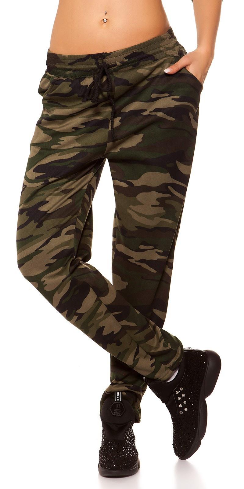 Trendy thermische joggingbroek in camouflage khaki