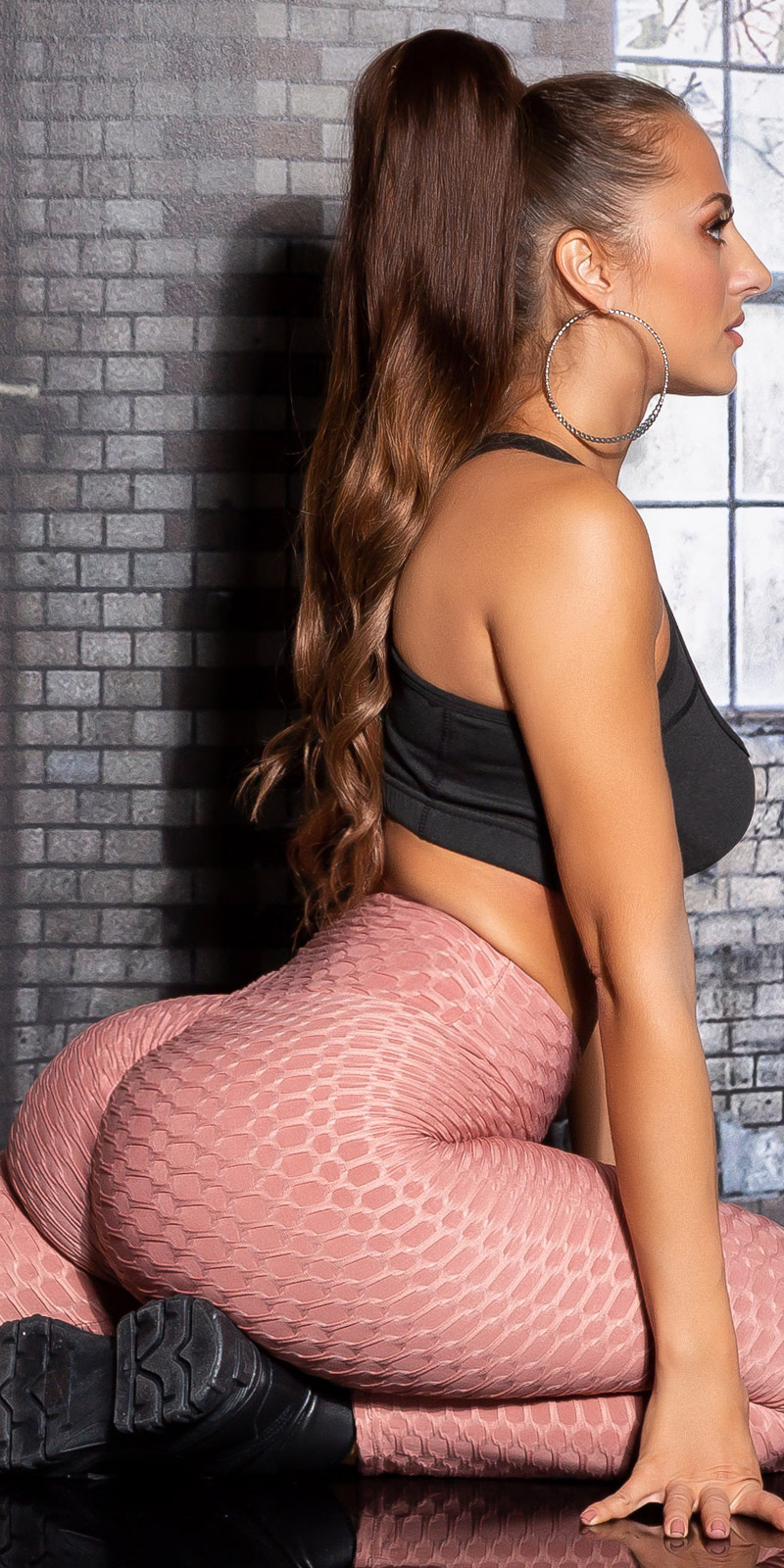 Sexy hoge taille leggings push-up roze