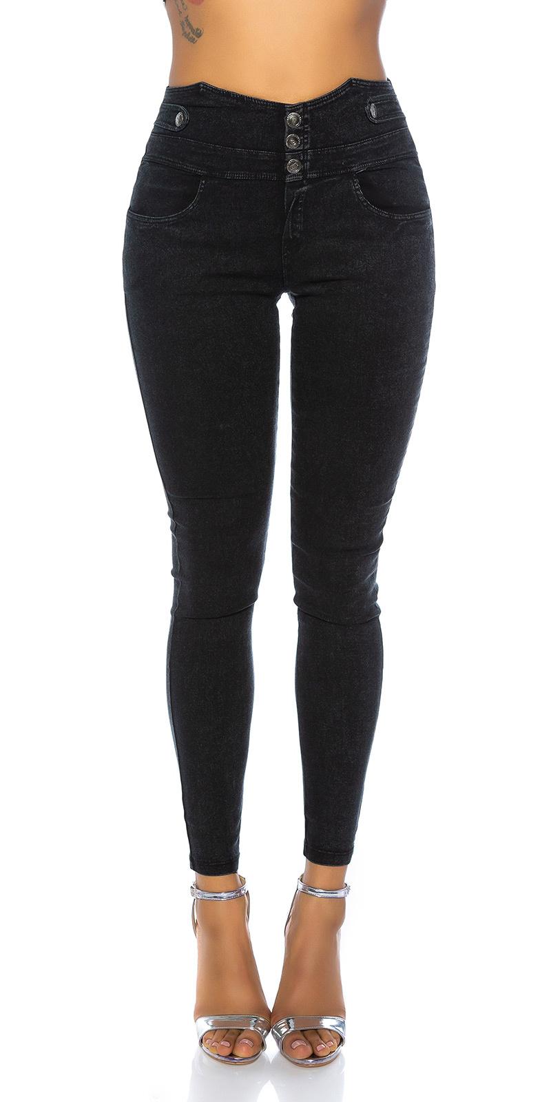 Trendy hoge taille jeanslook leggings zwart