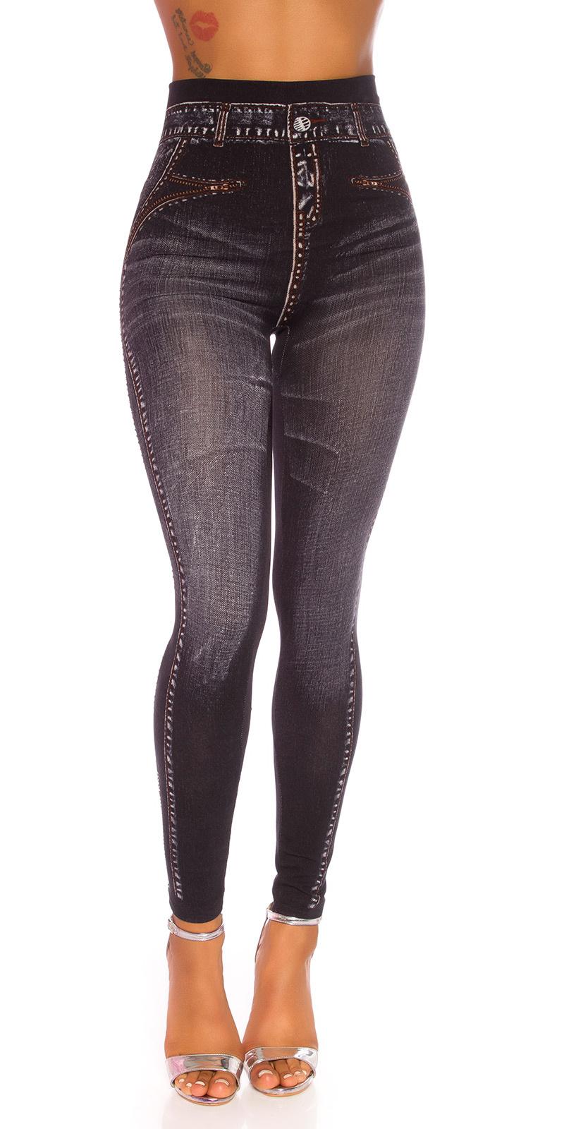 Sexy jeanslook leggings met strass steentjes zwart