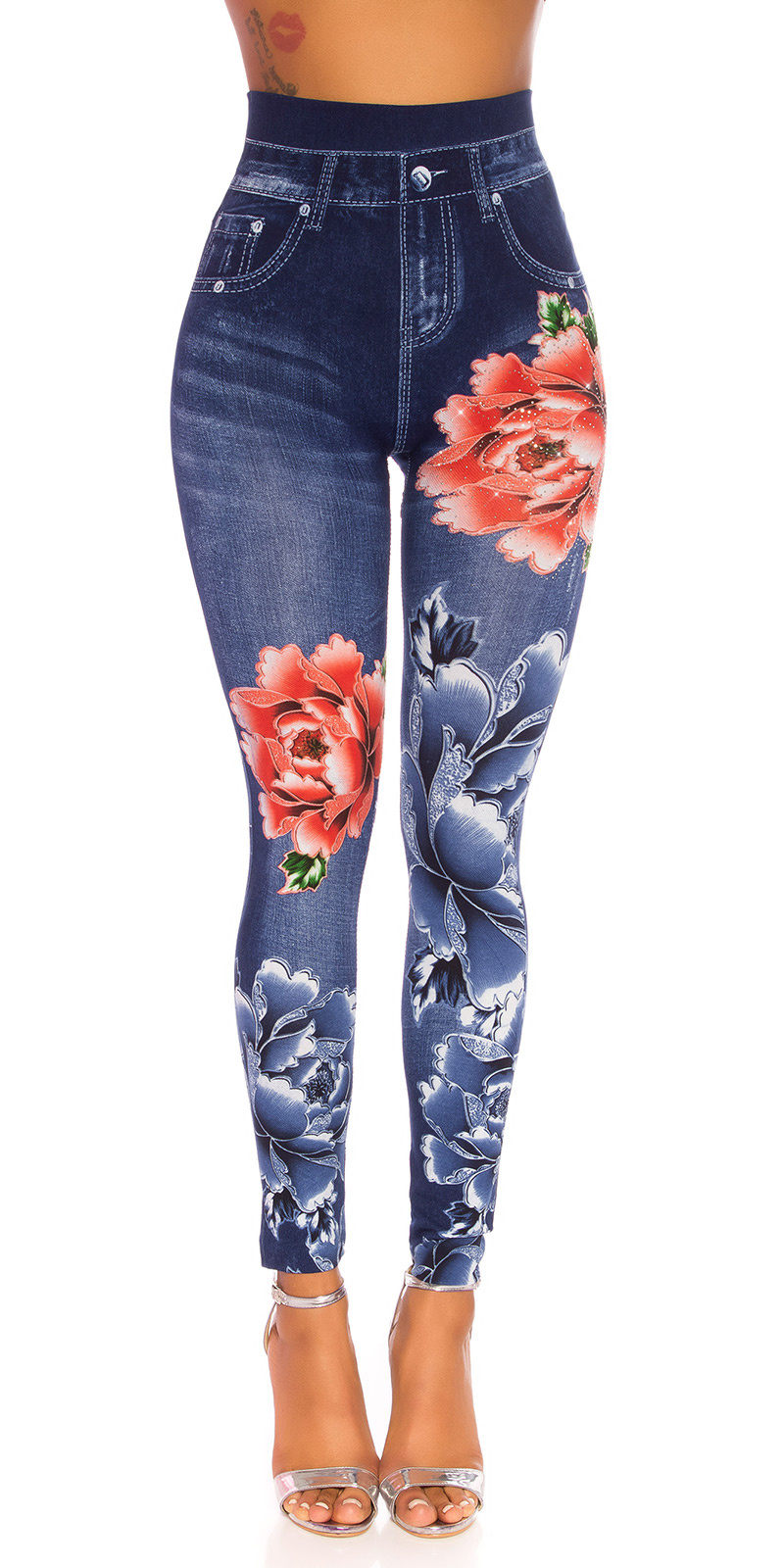 Sexy hoge taille jeanslook leggings blauw