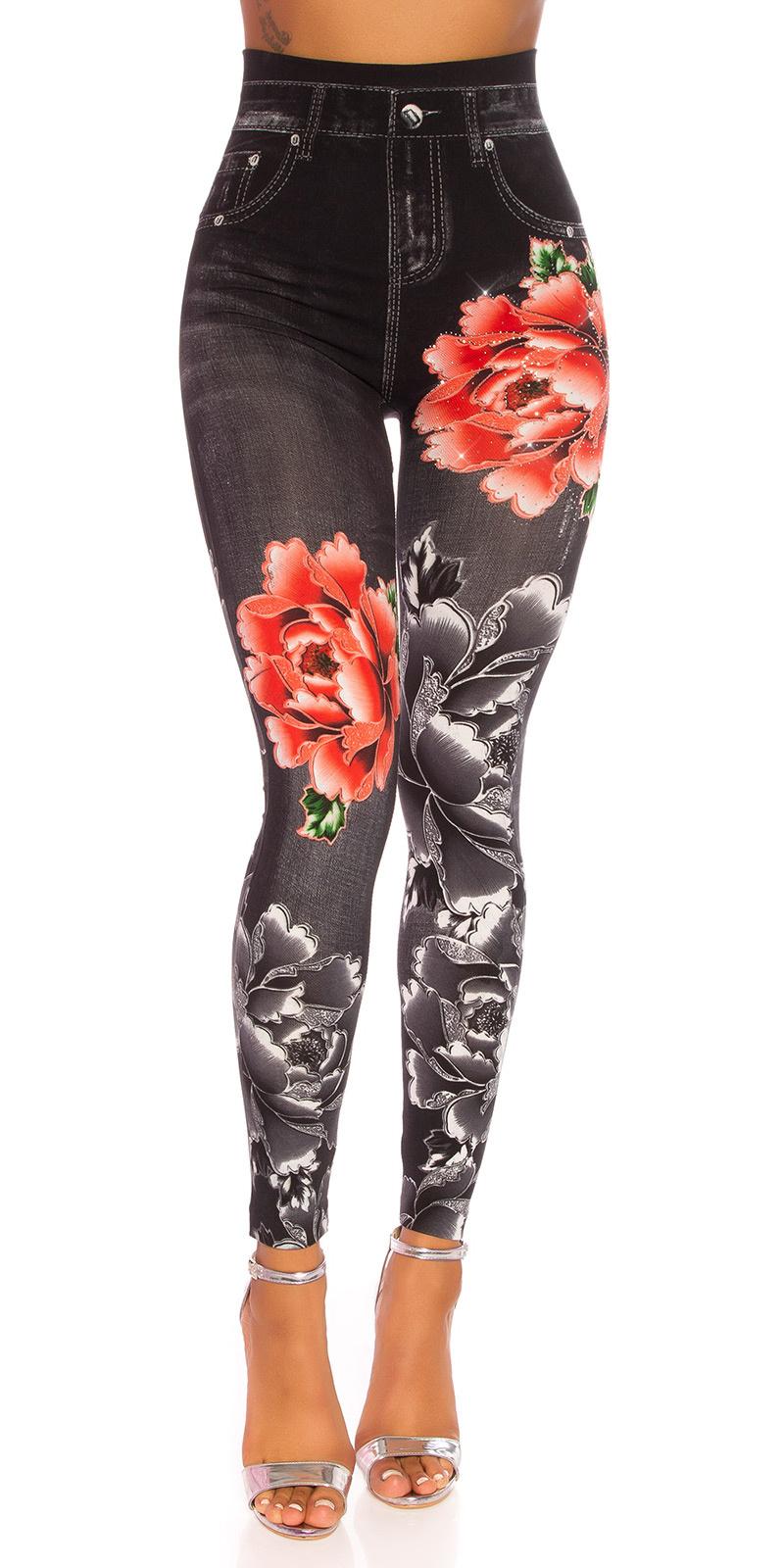 Sexy hoge taille jeanslook leggings zwart