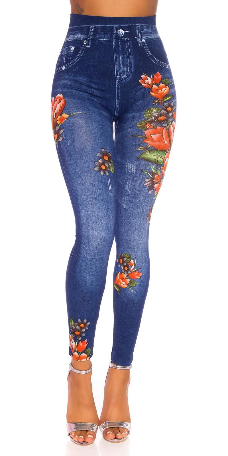 Sexy hoge taille jeggings met bloemen-print blauw