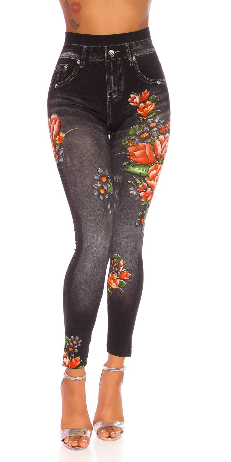 Sexy hoge taille jeggings met bloemen-print zwart
