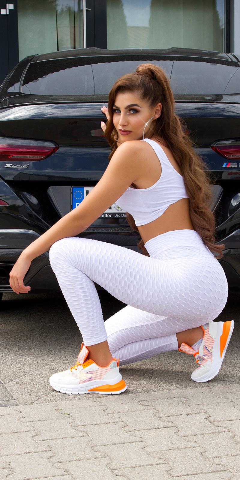 Trendy hoge-taille leggings wit