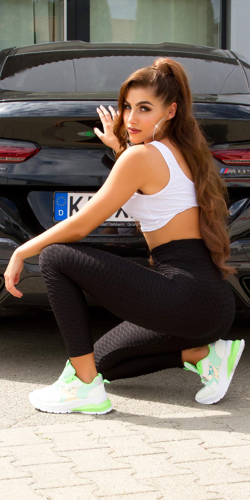 Trendy High-Waist Leggings Black
