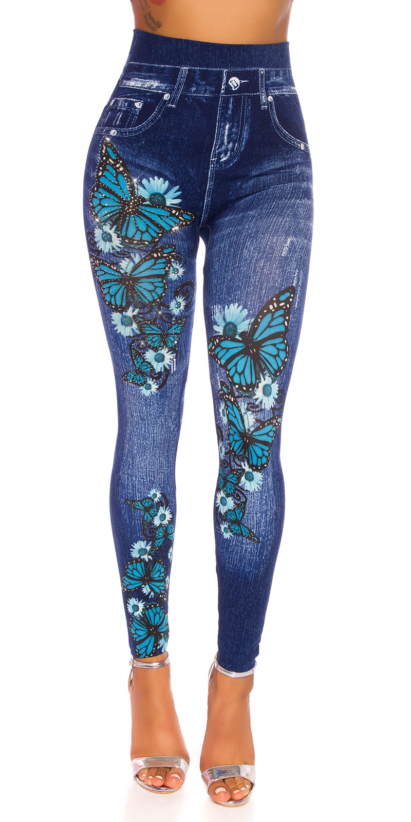Sexy hoge taille jeggings met butterfly print blauw
