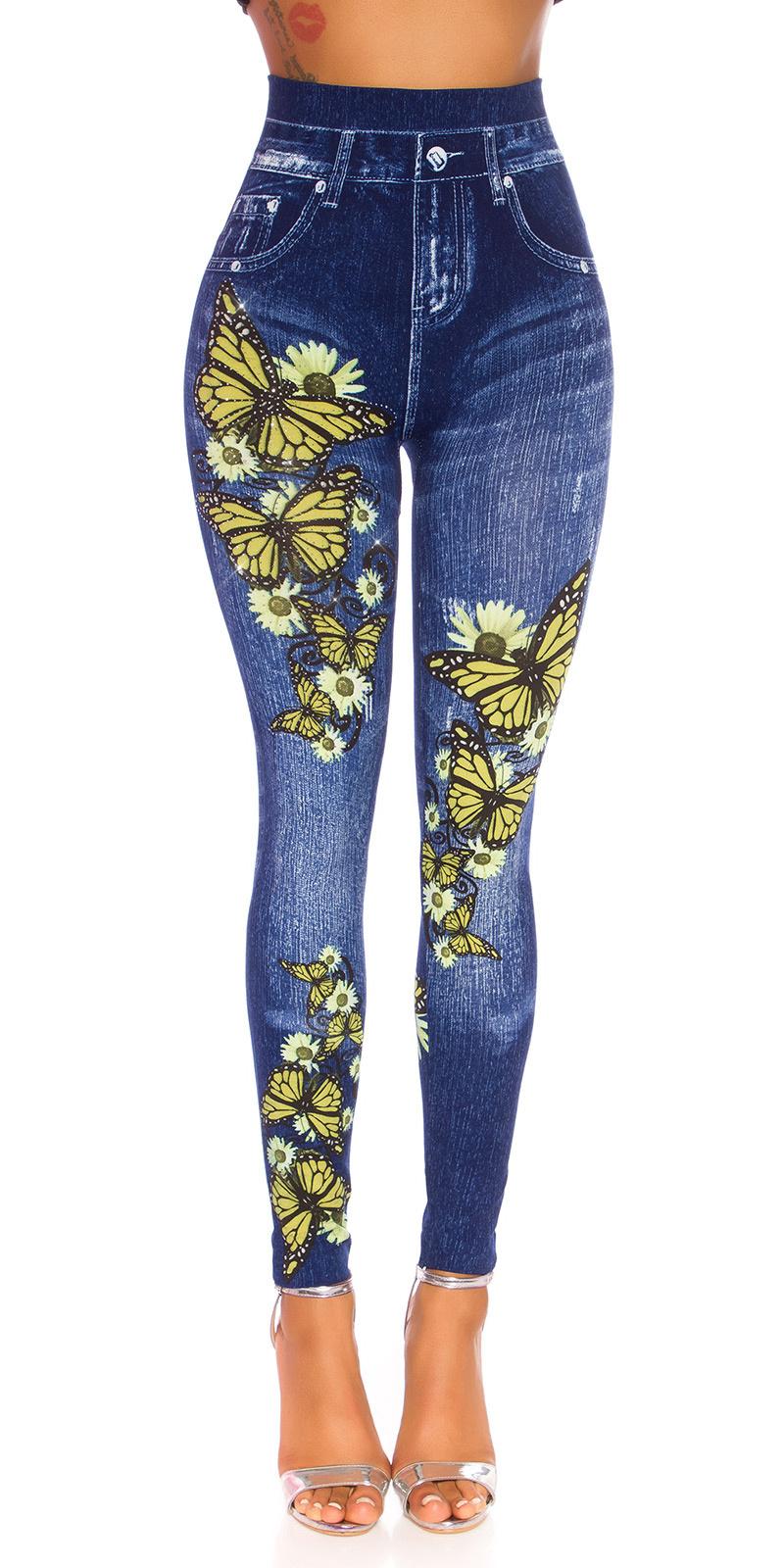 Sexy hoge taille jeggings met butterfly print geel