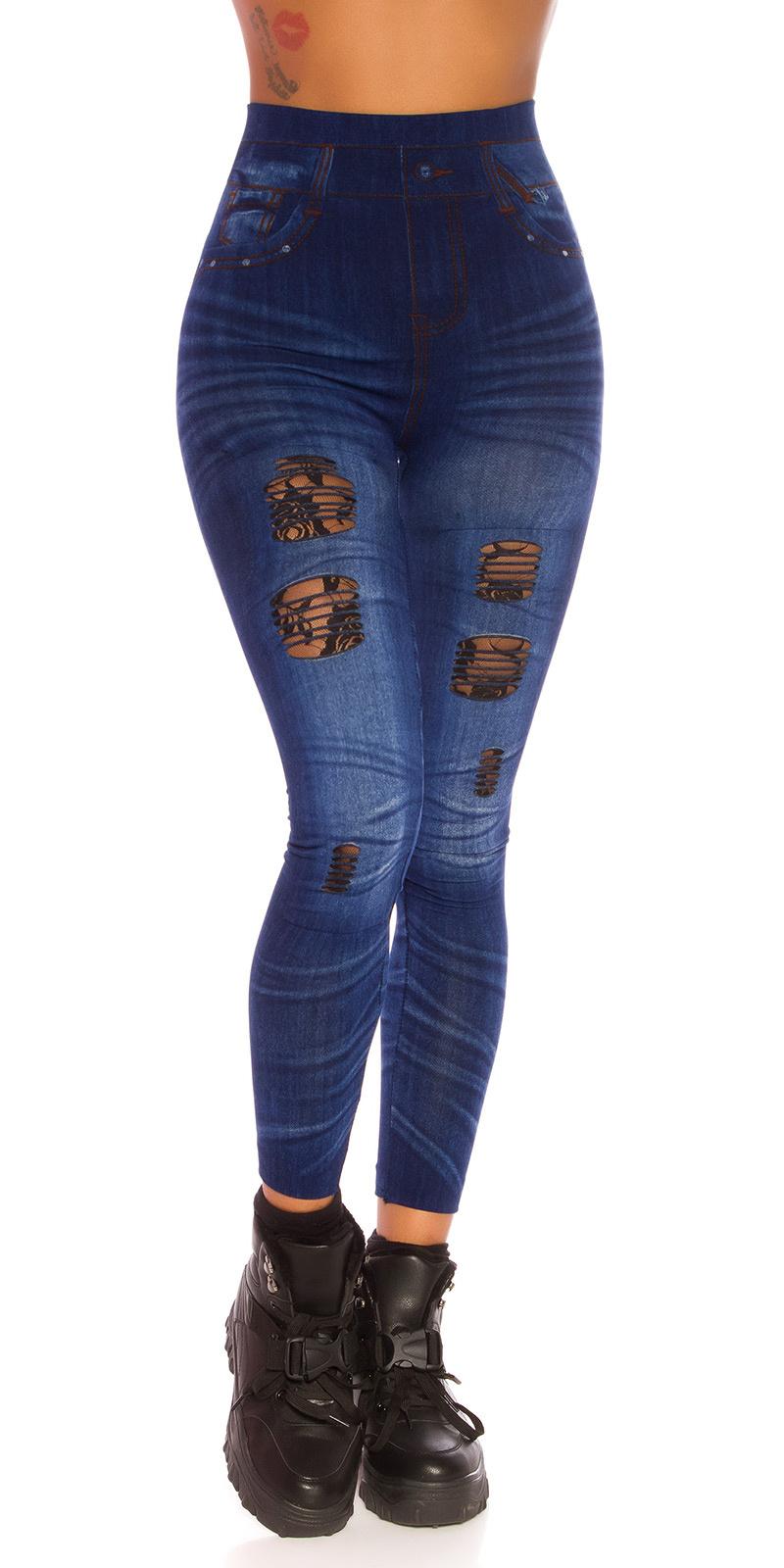 Sexy jeanslook leggings met kant cutouts blauw