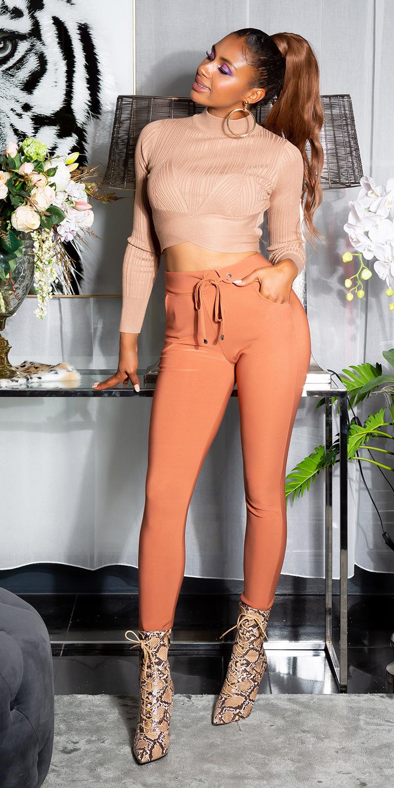 Sexy sporty broek met tailleband brons