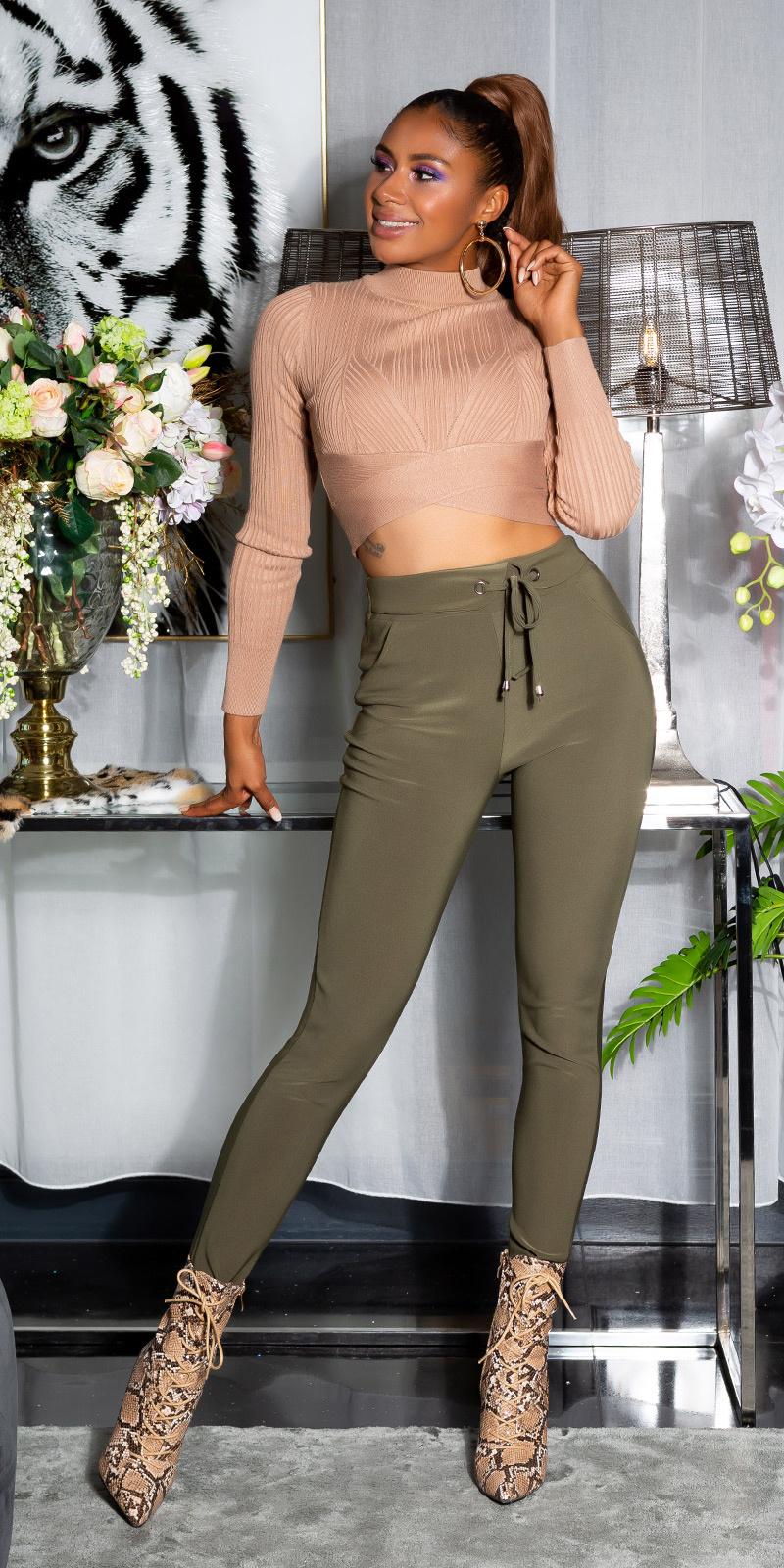 Sexy sporty broek met tailleband khaki