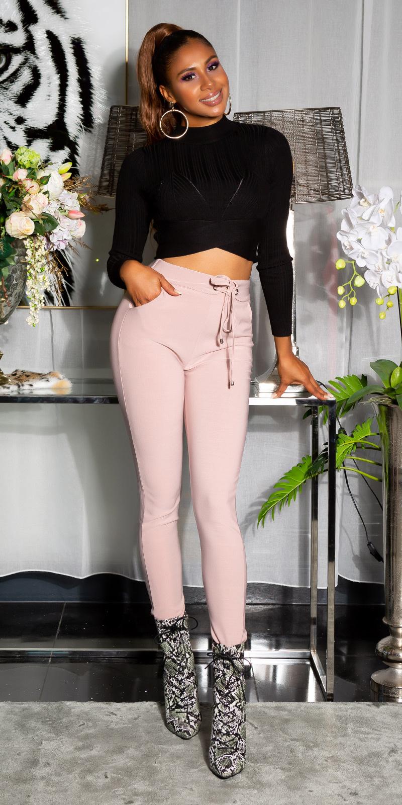 Sexy sporty broek met tailleband roze