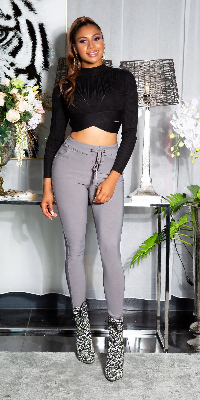 Sexy sporty broek met tailleband grijs
